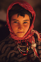 Todra Gorge, Morocco - Berber Girl, with Necklaces and Headscarf.