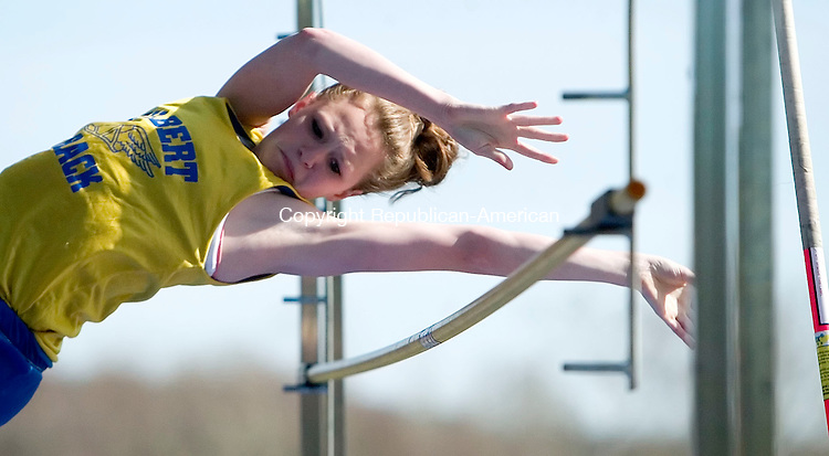 WOODBURY, CT- 23 APRIL 07- 042307JT07-<br /> Gilbert's Bridie McCarthy clears the bar during the high jump on Tuesday's track meet at Nonnewaug, which also hosted Thomaston.<br /> Josalee Thrift Republican-American