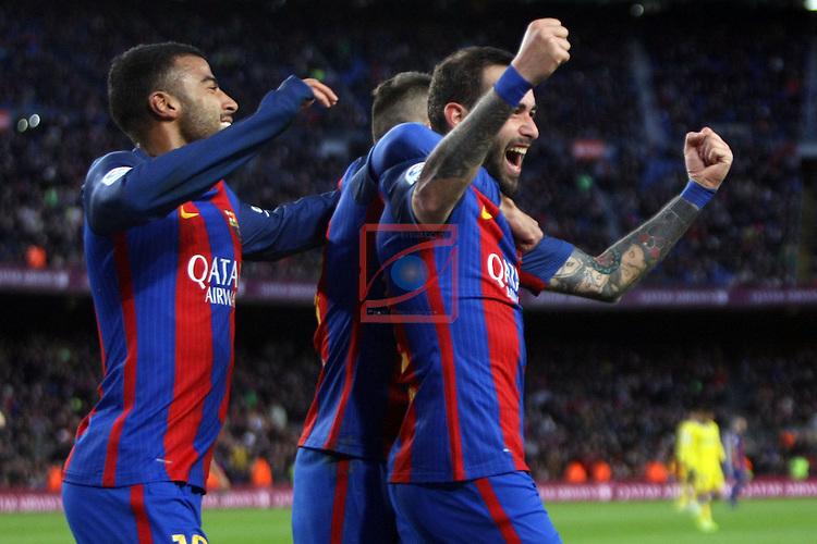 League Santander 2016/2017. Game: 18.<br /> FC Barcelona vs UD Las Palmas: 5-0.<br /> Rafinha &amp; Aleix Vidal.