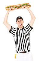 Caucasian male as American football referee.  Isolated on white background.