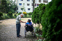 Father Laborde speaks with a diabled man in Asha Neer, Howrah. West Bengal, India, Arindam Mukherjee/Agency Genesis
