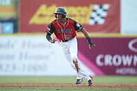 Bubba Thompson (25) of the Hickory Crawdads takes his lead off of second base against the Kannapolis Intimidators at L.P. Frans Stadium on July 20, 2018 in Hickory, North Carolina. The Crawdads defeated the Intimidators 4-1. (Brian Westerholt/Four Seam Images)
