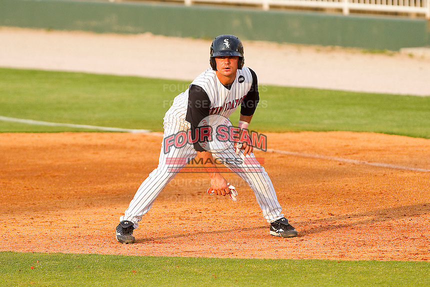Kyle Eveland #6 of the Kannapolis Intimidators takes his lead off of first base against the Greenville Drive at Fieldcrest Cannon Stadium on May 8, 2011 in Kannapolis, North Carolina.   Photo by Brian Westerholt / Four Seam Images