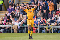 Lenell John-Lewis of Newport County rues a missed chance during the Sky Bet League 2 match between Newport County and Notts County at Rodney Parade, Newport, Wales on 6 May 2017. Photo by Mark  Hawkins / PRiME Media Images.