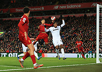 24th February 2020; Anfield, Liverpool, Merseyside, England; English Premier League Football, Liverpool versus West Ham United; Trent Alexander-Arnold of Liverpool crosses the ball for Sadio Mane of Liverpool to score the match winning goal after 81 minutes