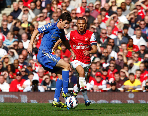 29.09.2012. North London, England. ..Oscar of Chelsea and Kieran Gibbs of Arsenal..Barclays Premier League. Arsenal versus Chelsea.