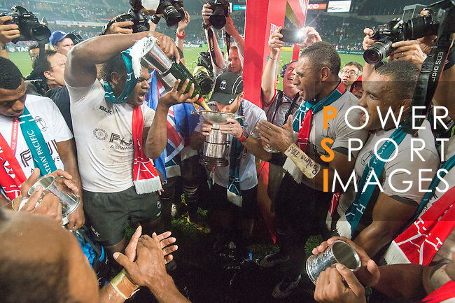 Fiji is being celebrated as Cup Winners during the HSBC Hong Kong Rugby Sevens 2016 on 10 April 2016 at Hong Kong Stadium in Hong Kong, China. Photo by Li Man Yuen / Power Sport Images