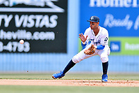 Asheville Tourists shortstop Carlos Herrera (2) fields the ball during a game against the Rome Braves at McCormick Field on June 11, 2017 in Asheville, North Carolina. The Braves defeated the Tourists 3-1. (Tony Farlow/Four Seam Images)