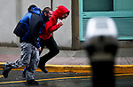 Men fights against the wind as Hurricane Sandy begins to affect the area in Newport New Jersey United States. 29/10/2012. Photo by Kena Betancur/VIEWpress.