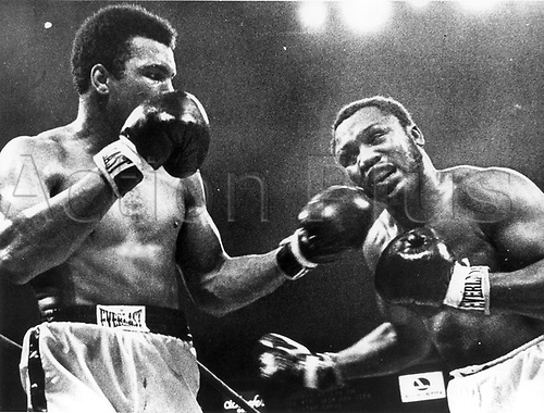 """28.1.1974 Joe William Frazier 12.01.1944 - 07.11.2011 also known as Smokin' Joe, was a former Olympic and Undisputed World Heavyweight boxing champion, whose professional career lasted from 1965 to 1976, with a brief comeback in 1981...Frazier emerged as the top contender in the late 1960s, defeating the likes of Jerry Quarry, Oscar Bonavena, Buster Mathis, Eddie Machen, Doug Jones, George Chuvalo and Jimmy Ellis en route to becoming undisputed heavyweight champion in 1970, and followed up by defeating Muhammad Ali on points in the highly-anticipated """"Fight of the Century"""" in 1971. Two years later Frazier lost his title when he was knocked out by George Foreman. He fought on, beating Joe Bugner, losing a rematch to Ali, and beating Quarry and Ellis again...Frazier's last world title challenge came in 1975, but he was beaten by Ali in their brutal rubbermatch. He retired in 1976 following a second loss to Foreman. He made a comeback in 1981, fighting just once, before retiring for good. The International Boxing Research Organization (IBRO) rates Frazier among the ten greatest heavyweights of all time.[2] He is an inductee of both the International Boxing Hall of Fame and the World Boxing Hall of Fame.....Image shows fight with Cassius Clay / Muhammad Ali . Muhammad Ali died on June 3rd 2016 of a respiratory complication in a Phoenix hospital."""