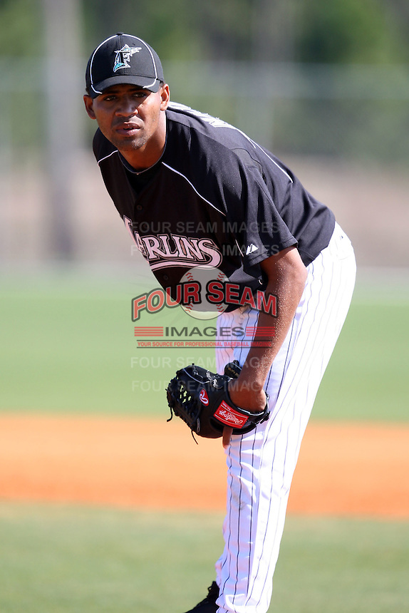 March 20, 2010:  Pitcher Wilson Matos (75) of the Florida Marlins organization during Spring Training at the Roger Dean Stadium Complex in Jupiter, FL.  Photo By Mike Janes/Four Seam Images