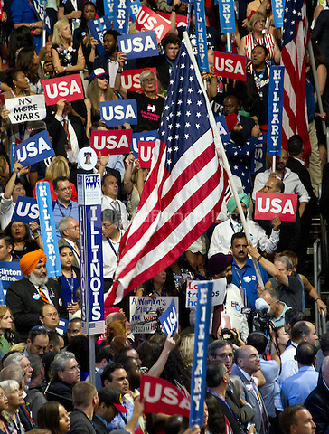 Flags and signs during the fourth session of the 2016 Democratic National Convention at the Wells Fargo Center in Philadelphia, Pennsylvania on Thursday, July 28, 2016.<br /> Credit: Ron Sachs / CNP/MediaPunch<br /> (RESTRICTION: NO New York or New Jersey Newspapers or newspapers within a 75 mile radius of New York City)