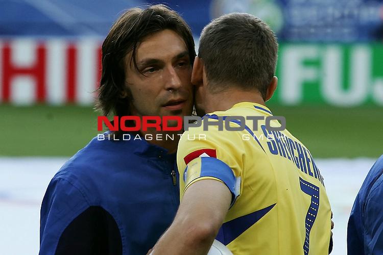 FIFA WM 2006 -  Viertelfinale <br /> Play    #58 (26-Jun) - Italien - Ukraine<br /> <br />  PIRLO Andrea troestet SHEVCHENKO Andriy<br /> <br /> Foto &copy; nordphoto