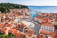 Piran and Tartini Square, seen from Church of St George, Slovenian Istria, Slovenia, Europe