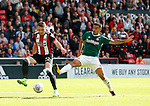 Caolan Lavery of Sheffield Utd and Maxime Colin of Brentford during the English Championship League match at Bramall Lane Stadium, Sheffield. Picture date: August 5th 2017. Pic credit should read: Simon Bellis/Sportimage