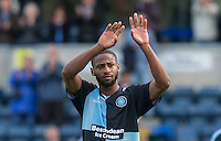 Janoi Donacien of Wycombe Wanderers waves to the supporters during the Sky Bet League 2 match between Wycombe Wanderers and Hartlepool United at Adams Park, High Wycombe, England on 5 September 2015. Photo by Andy Rowland.