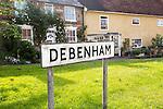 Village sign and historic house, Debenham, Suffolk, England, UK