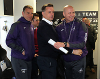 Pictured: Swansea coach John Toshack (R) with goalkeeping coach for the men's team Tony Roberts (C) Monday 15 May 2017<br /> Re: Premier League Cup Final, Swansea City FC U23 v Reading U23 at the Liberty Stadium, Wales, UK