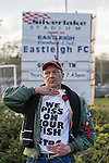 A Grimsby Town fan outside the Eastleigh Football Club stadium before the Vanamara Conference Play Off Semi Final First Leg match between Eastleigh and Grimsby Town at The Silverlake Stadium, Eastleigh<br /> Picture by David Horn/eXtreme aperture photography +44 7545 970036<br /> 30/04/2015