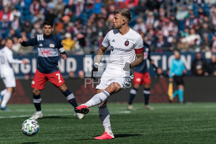 FOXBOROUGH, MA - MARCH 7: Francisco Calvo #5 of Chicago Fire passes the ball during a game between Chicago Fire and New England Revolution at Gillette Stadium on March 7, 2020 in Foxborough, Massachusetts.