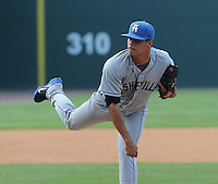 Pitcher Jefri Hernandez (14) of the Asheville Tourists in a game against the Greenville Drive on Sunday, August 26, 2012, at Fluor Field at the West End in Greenville, South Carolina. Greenville won, 5-4. (Tom Priddy/Four Seam Images)