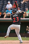 Indianapolis Indians right fielder Adam Boeve kicks his leg high as he bats against the Charlotte Knights at Knights Stadium in Fort Mill, SC, Sunday, August 13, 2006.