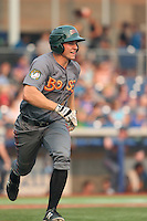 Kevin Padlo (7) of the Boise Hawks runs to first base during a game against the Hillsboro Hops at Ron Tonkin Field on August 22, 2015 in Hillsboro, Oregon. Boise defeated Hillsboro, 6-4. (Larry Goren/Four Seam Images)