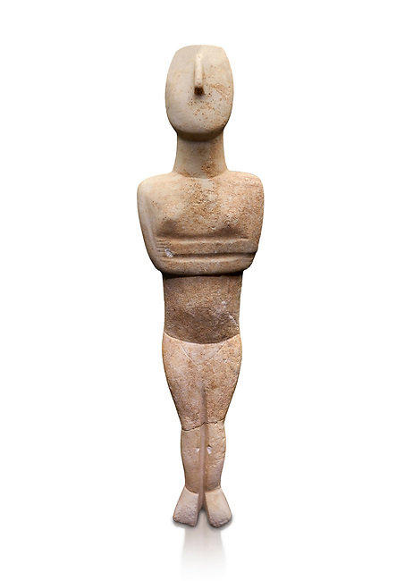 Cycladic Canonical type, Spedos variety female figurine statuette. Early Cycladic Period II, (2800-2300 BC), 'Steiner Master'.  Museum of Cycladic Art Athens, cat no 654.  Against white.