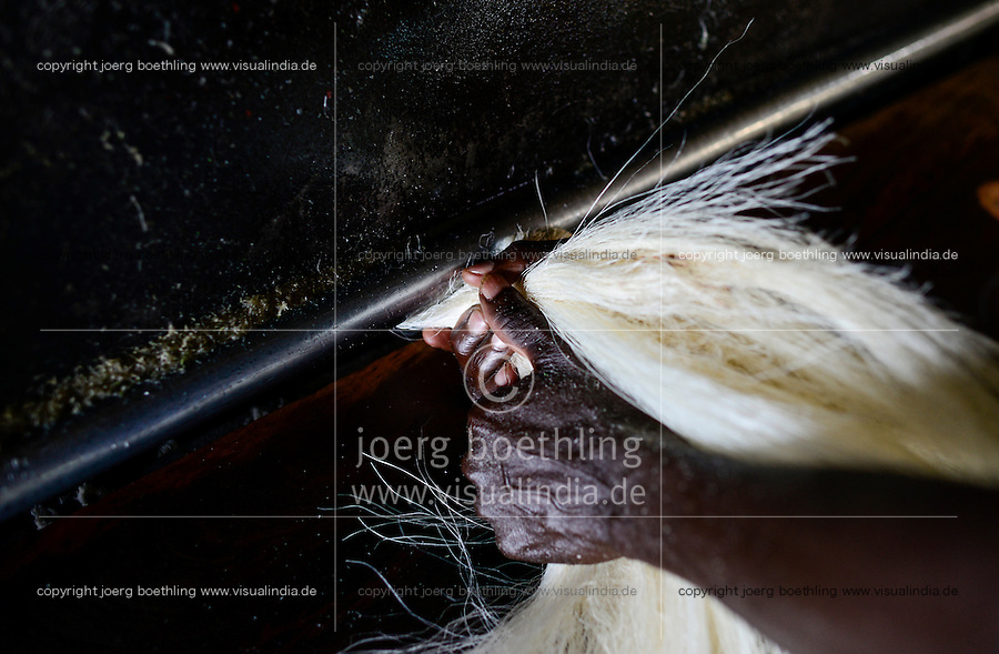 TANZANIA Tanga, Usambara Mountains, Sisal farming and industry, D.D. Ruhinda & Company Ltd., Mkumbara Sisal estate, further processing of sisal fibres, combing of fibres / TANSANIA Tanga, Sisal Industrie, D.D. Ruhinda & Company Ltd., Mkumbara Sisal estate, Weiterverabeitung der getrockneten Sisalfaser, Kaemmen der Faser