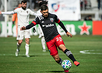 WASHINGTON, DC - FEBRUARY 29: Joseph Mora #28 of DC United controls the ball during a game between Colorado Rapids and D.C. United at Audi Field on February 29, 2020 in Washington, DC.