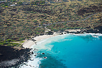 Aerial of Kohala Coast beach and shoreline