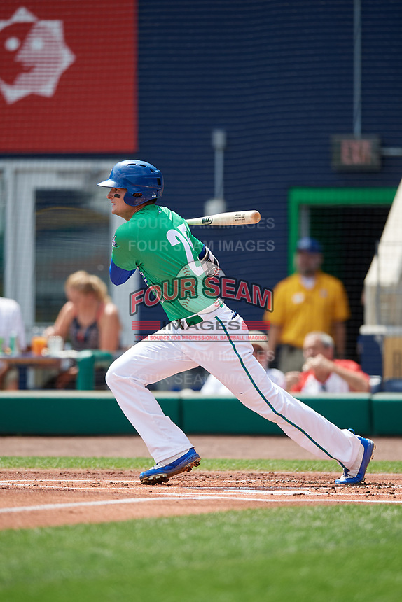 Hartford Yard Goats right fielder Sam Hilliard (25) follows through on a swing during a game against the Trenton Thunder on August 26, 2018 at Dunkin' Donuts Park in Hartford, Connecticut.  Trenton defeated Hartford 8-3.  (Mike Janes/Four Seam Images)