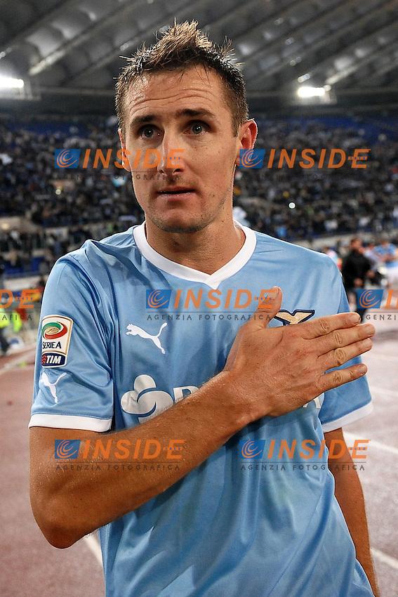 """Miroslav KLOSE Lazio celebration.Roma 16/10/2011 Stadio """"Olimpico"""".Football Calcio Serie A 2011/2012.Lazio Vs Roma .Foto Insidefoto Andrea Staccioli"""