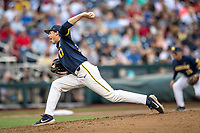 Michigan Wolverines pitcher Tommy Henry (47) delivers a pitch to the plate during Game 6 of the NCAA College World Series against the Florida State Seminoles on June 17, 2019 at TD Ameritrade Park in Omaha, Nebraska. Michigan defeated Florida State 2-0. (Andrew Woolley/Four Seam Images)