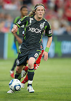 Seattle Sounders FC midfielder Erik Friberg #8 in action during an MLS game between the Seattle Sounders FC and the Toronto FC at BMO Field in Toronto on June 18, 2011..The Seattle Sounders FC won 1-0.