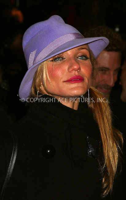 """Cameron Diaz arriving at the premiere of """"Gangs of New York."""" New York, December 9, 2002. Please byline: Alecsey Boldeskul/NY Photo Press.   ..*PAY-PER-USE*      ....NY Photo Press:  ..phone (646) 267-6913;   ..e-mail: info@nyphotopress.com"""