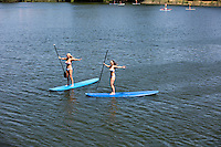 Stand up paddle surfing (SUP), stand up paddle boarding is an emerging global sport with an Austin, Texas heritage.<br /> <br /> The sport benefits athletes with a strong 'core' workout. SUP'ing is popular on Lady Bird Lake and at warm coastal climates and resorts, and is gaining in popularity as celebrities are sampling the sport, and cross-over athletes are training with SUP. SUPs have been spotted around the globe, anywhere there is easy access to safe waters. Another reason for the rise in popularity of stand up paddleboarding is that, unlike surfing, paddleboarding is very easy to learn. Within one hour you can become very comfortable in the water and on your board.