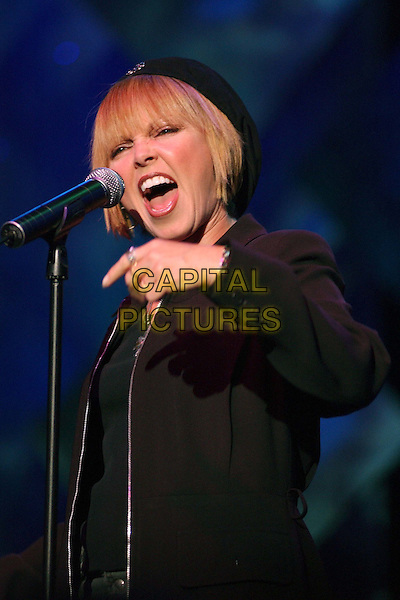 PAT BENATAR .Performs live at The Grove of Anaheim during her 'I Won't Go Tour 2003'.      .singing, stage, concert, music, half length, half-length                       .www.capitalpictures.com.sales@capitalpictures.com.©Capital Pictures