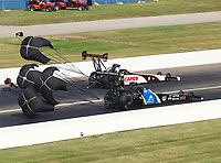 Sep 4, 2017; Clermont, IN, USA; NHRA top fuel driver Steve Torrence (far) alongside Ashley Sanford during the US Nationals at Lucas Oil Raceway. Mandatory Credit: Mark J. Rebilas-USA TODAY Sports