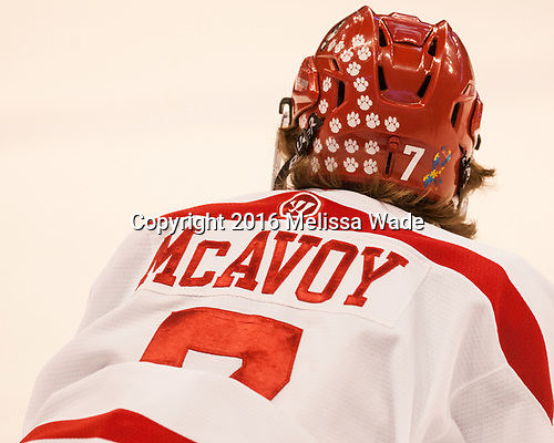Charlie McAvoy (BU - 7) The Boston University Terriers defeated the visiting Yale University Bulldogs 5-2 on Tuesday, December 13, 2016, at the Agganis Arena in Boston, Massachusetts.