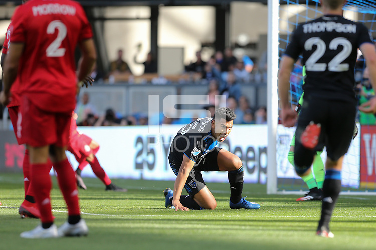 SAN JOSE, CA - FEBRUARY 29: Andy Rios #25 of the San Jose Earthquakes celebrates scoring during a game between Toronto FC and San Jose Earthquakes at Earthquakes Stadium on February 29, 2020 in San Jose, California.