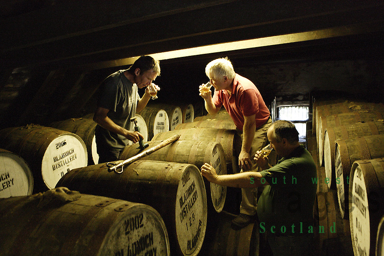 Nosing and tasting the maturing whisky In the bonded warehouse at Bladnoch scotch whisky distillery near Wigtown in the Machars of Galloway Scotland UK