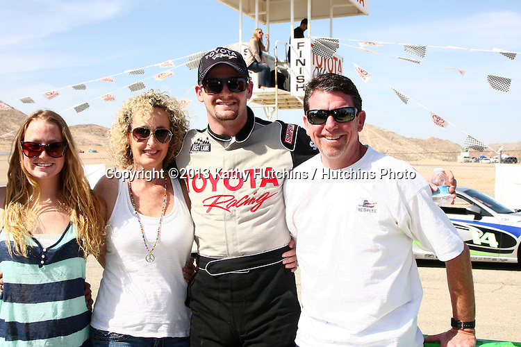 LOS ANGELES - MAR 23:  Tyler Clary and family with the Scion FR-S at the 37th Annual Toyota Pro/Celebrity Race training at the Willow Springs International Speedway on March 23, 2013 in Rosamond, CA          EXCLUSIVE PHOTO