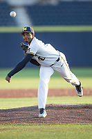 Michigan Wolverines pitcher Angelo Smith (40) delivers a pitch to the plate against the Western Michigan Broncos on March 18, 2019 in the NCAA baseball game at Ray Fisher Stadium in Ann Arbor, Michigan. Michigan defeated Western Michigan 12-5. (Andrew Woolley/Four Seam Images)