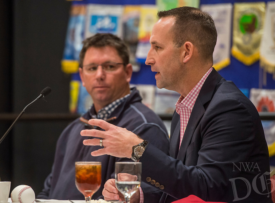 NWA Democrat-Gazette/ANTHONY REYES @NWATONYR<br /> Scott Sharp, the Kansas City Royals' Assistant General Manager/Baseball Operations, talks as Northwest Arkansas manager Vance Wilson looks on Monday, Jan. 15, 2017 during the Springdale Rotary hosted the Northwest Arkansas Naturals Hot Stove Luncheon at the Springdale Holiday Inn Convention Center.