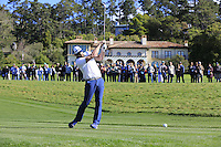 Green Bay Packers NFL quarterback Aaron Rodgers tees off the 6th tee at Pebble Beach Golf Links during Saturday's Round 3 of the 2017 AT&amp;T Pebble Beach Pro-Am held over 3 courses, Pebble Beach, Spyglass Hill and Monterey Penninsula Country Club, Monterey, California, USA. 11th February 2017.<br /> Picture: Eoin Clarke | Golffile<br /> <br /> <br /> All photos usage must carry mandatory copyright credit (&copy; Golffile | Eoin Clarke)