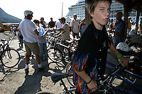 A cruise ship arrives in Wrangell once a week and the locals turn out to meet and greet selling their wares--fish, rocks, jewelry. One company rents bicycles for tourists to sight see in the town.