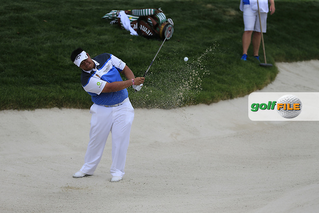 Kiradech Aphibarnrat (THA) chips from a bunker at the 6th green during Thursday's Round 1 of the 2016 PGA Championship held at Baltusrol Golf Club, Springfield, New Jersey, USA. 28th July 2016.<br /> Picture: Eoin Clarke | Golffile<br /> <br /> <br /> All photos usage must carry mandatory copyright credit (&copy; Golffile | Eoin Clarke)