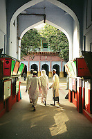 "Deoband, India, March 2002.Darul-Ul-Uloom, an influential Madrassah (Coranic school) was founded in Deoband in the 1860's; its radical view of Islam was easily embraced by countryside and illiterate muslems throughout the subcontinent. Numerous ""daughter"" Madrassahs were founded according to the Deobandi rule, the most famous in Akkora Kattak, Pakistan where most of the Afghan Taliban rulers studied for many years before taking power."