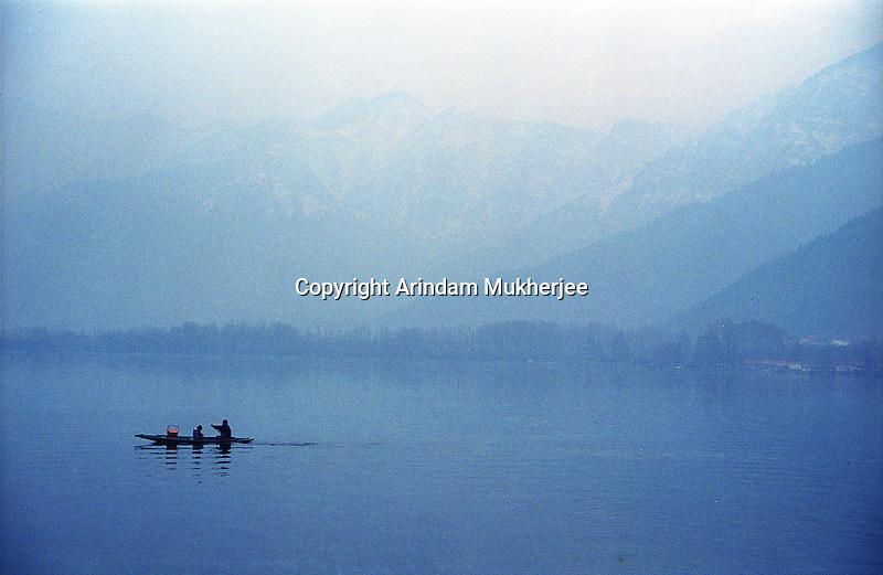A boat at Dal Lake during evening, Srinagar, Jammu and Kashmir, India, Arindam Mukherjee